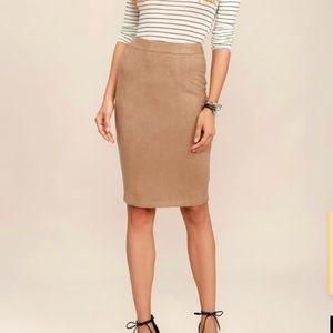 Lulus superpower tan suede pencil skirt